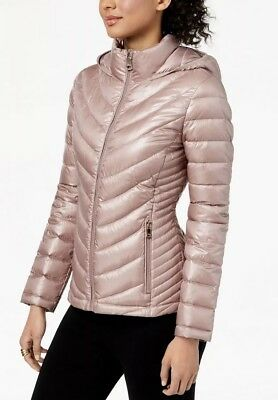cd01179be NWT CALVIN KLEIN Women's Hooded Packable Down Puffer Coat Shine Rosewood  Small