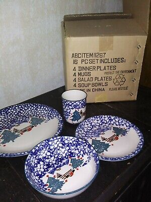 Tienshan Folk Craft Cabin in the Snow Stoneware16 pc Service for 4 NEW