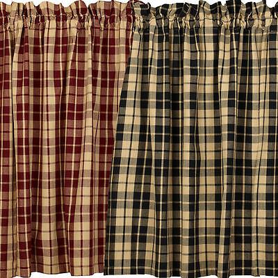 Primitive Country FARMHOUSE STAR Rustic Curtain Tiers In Burgundy & Black Plaid