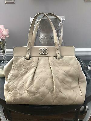 7061b7b23ead48 Chanel Ivory Pebbled Leather Large Tote Bag Silver Hardware CC Must See  Classic!