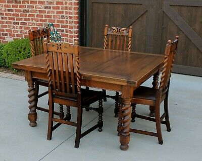 "Antique English Oak BARLEY TWIST Draw Leaf Dining Breakfast Table 95"" Extended"
