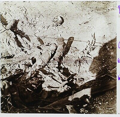 Marne Cadavre allemand Allemagne Guerre 14-18 France Photo Stereo Plaque