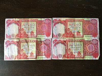 100,000 Iraqi Dinar Iqd (4) 25,000 Notes Circulated Authentic