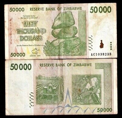 ZIMBABWE 50,000 (50000) Dollars, 2008, P-74, 100 Trillion Series, World Currency