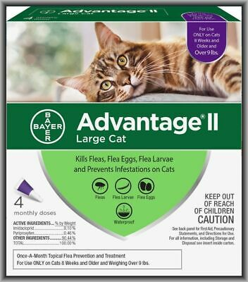 Bayer Advantage II Flea Treatment for Large Cats Over 9 lbs, 4 Monthly Doses