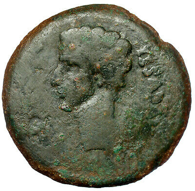 Roman Provincial Bronze Coin As Augustus Colonia Patricia Aquila Standards Ae32