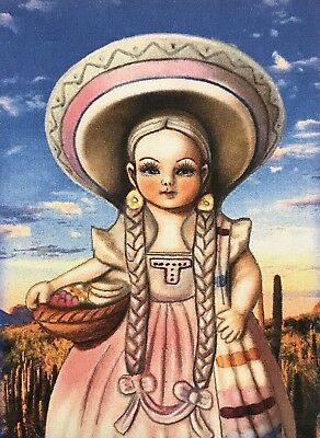 Aceo Limited Edition Jocelyn Bullock Art Girl In Sombrero Desert Scene Print