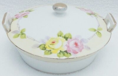 Vtg Hand Painted Porcelain Nippon Covered Round Butter Dish Bowl w/Lid & Handles