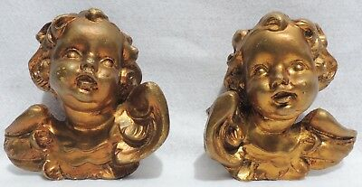 Pair Antique/Vtg Italy Gold Gilt Baby Angel Cherub Hanging Wall Figures 5125