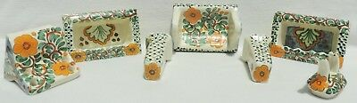 Vintage 7pc Portugal Floral Ceramic Towel Toothbrush Soap Bathroom Set #4496