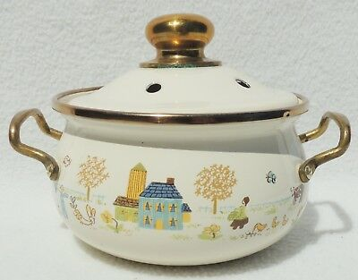 Vintage Small Folk Art Enamel Brass Pot with Handles & Lid #4405