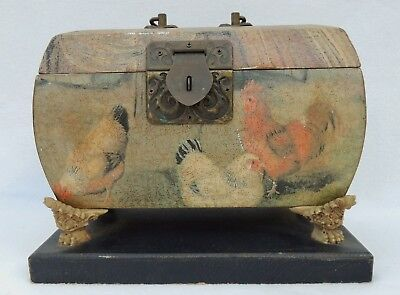 Vintage Wood Box Roosters w/ Brass Lock Lions Paw Foot Mounted #3753