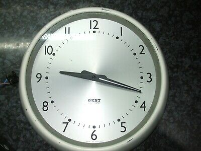 "(GENT OF LEICESTER) Vintage 28cm / 11"" Inch White School Clock WORKING"