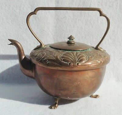 Antique/Vintage Copper & Brass Hand Hammered Embossed Footed Teapot #5341