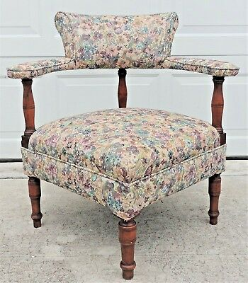 Antique/Vintage Mahogany French Country Floral Upholstered Corner Chair #4701