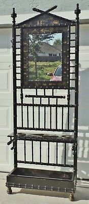 """Antique 88"""" Faux Bamboo Chinese Black Gold Mirror Hall Tree Umbrella Stand Rack"""