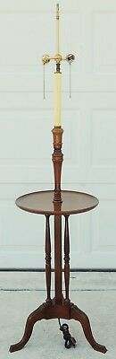 Antique/Vintage Schott Solid Mahogany & Brass Side End Accent Table Floor Lamp