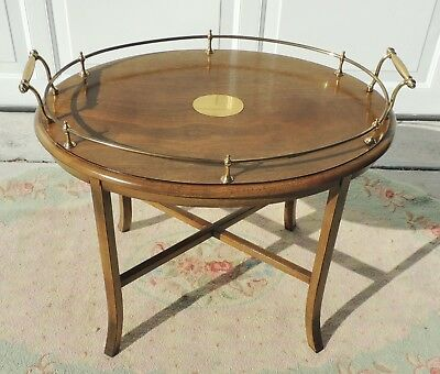 """Antique/Vtg 25"""" Solid Oak Wood Brass Gallery Oval Side/End Accent Table #5419"""