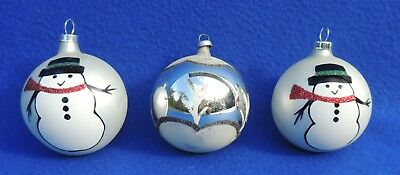 3 Vtg White Balls Hand Painted Snowman Mercury Glass Xmas Tree Ornament #3675