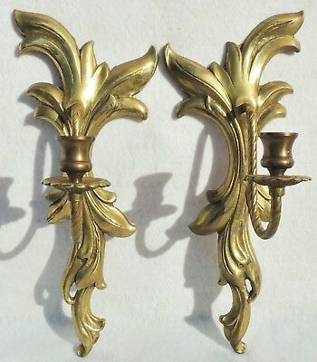 "Pair Large Antique/Vtg 15"" Gold Solid Brass Wall Candle Holder Sconces #5270"
