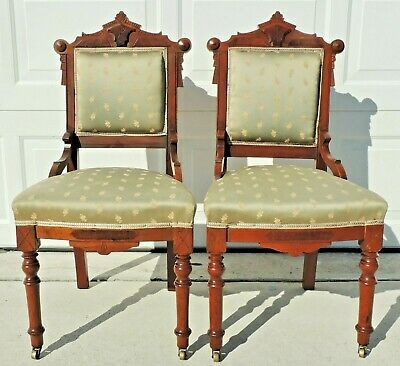 Pair Antique Victorian Eastlake Carved Burl Wood Dining Side Accent Chairs
