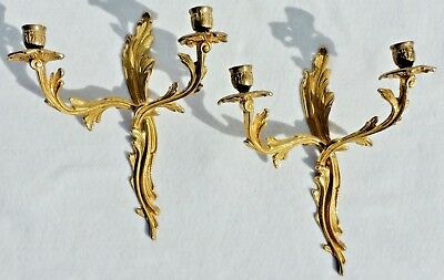 "Large 13"" Antique/Vtg Pair Solid Brass Flower Candle Holder Wall Sconces #5286"