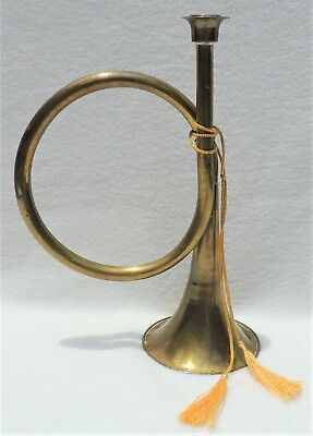 "Large 12"" Antique/Vtg TRUMPET Horn Mid Century Solid Brass Candle Holder #4794"