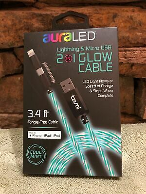 BRAND NEW IN BOX AuraLED iPhone & Micro USB 2 In 1 GLOW Cable Charger Cool