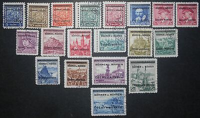 Germany - Bohemia and Moravia 1939 complete set, Mi #1-19, signed, used, CV=400€