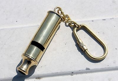 Vintage Brass Conductor WHISTLE KEY CHAIN COLLECTIBLE Nautical Marine Key Ring