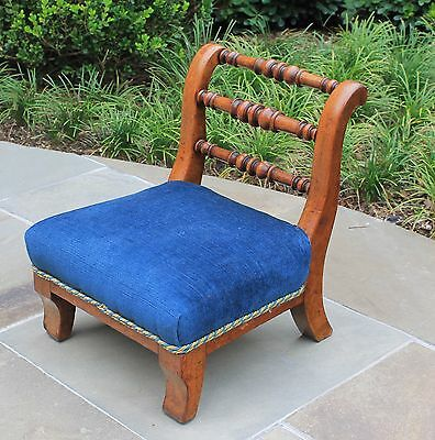 Antique English Walnut Blue Upholstered PETITE Slipper Child's Chair Stool Bench