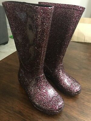 NEXT Girls Rain Boots Pink Magenta Glitter Wellies Size UK 10 / US 11 Brand New