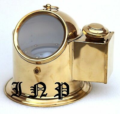 Vintage Brass Binnacle Compass Marine Collectible Helmet Compass With Oil Lamp