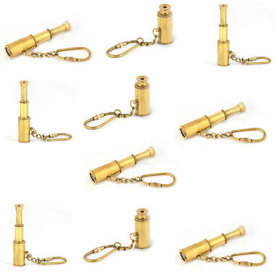 Lot of 50 pc Brass nautical mini Telescope key chain- 3 fold gift key chain