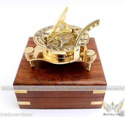 Antiques Efficient Brass Compass Collectible Vintage Antique Styleheavy Maritime Navigational