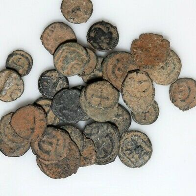Lovely Lot Of 30 Late Roman & Byzantine Bronze Coins- Partial Clean