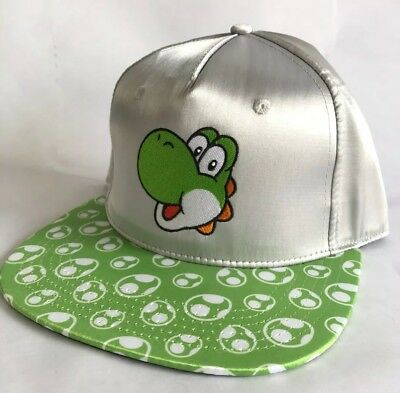 0b169fbb4 OFFICIAL NINTENDO SUPER Mario Bros Adult Yoshi Hat Snapback Shiny Silver  Green