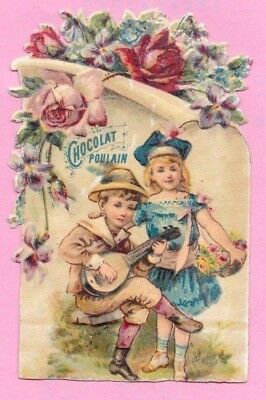 "Victorian Trade Card ""Chocolate Poulain"" Sweet Children Embossed Die Cut."