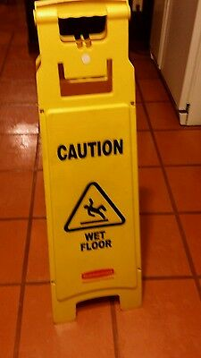Rubbermaid 6114 Caution Wet Floor 4-Sided Floor Sign, Yellow (RCP611477YEL)