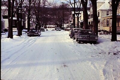 Classic Cars Parked In Street After Snow Storm 1960's Vintage 35mm Slide B7 e