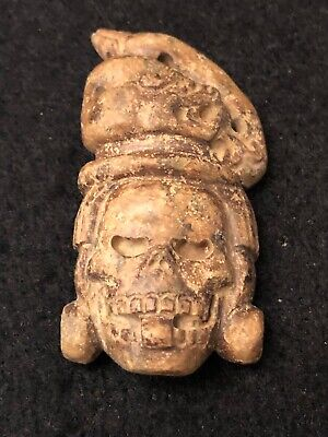 Very Rare Pre-Columbian Aztec, Incan, Mayan Carved Stone Mask Pendant 800-1500AD