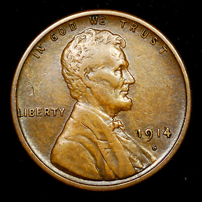 1914-S Lincoln Wheat cent penny - some wear. *99C NO RESERVE* (190323032)