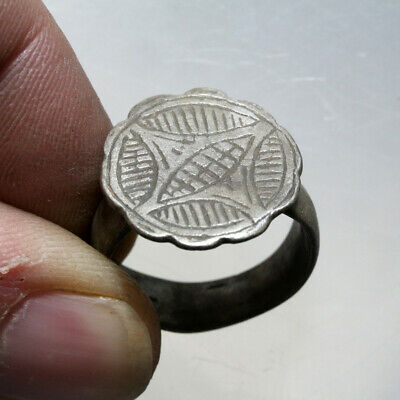 INTACT Crusaders SILVER Decorated Ring CA 1000-1300 AD-WEARABLE