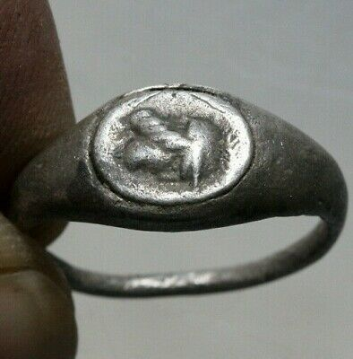 INTACT Roman SILVER Ring With a Male Head Depiction CA 100-300 AD