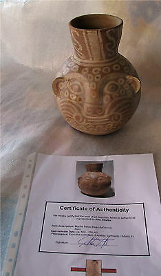 Antique Pre Columbian 500-700 AD Moche Feline Head pottery vase vessel jar