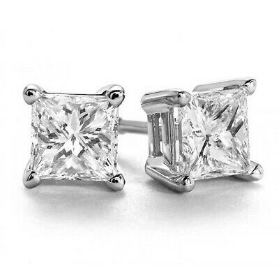 1.00ct Solitaire Princess Cut Diamond 14k White Gold Stud Earrings 100% Natural