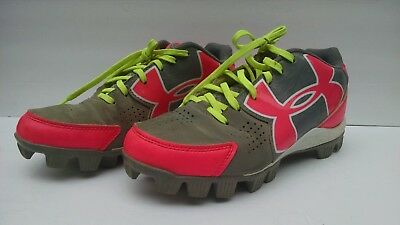 a94be8598d ADIDAS GIRLS SOFTBALL Cleats Shoes Youth Size 1-1/2 Pink And Gray ...