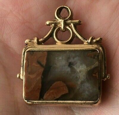 Antique 9Ct Rolled Gold Albert Pocket Watch Chain Scottish Agate Bloodstone Fob