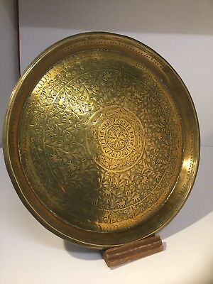Antique Indian Indo Persian Brass Hand Engraved Display Tray / Platter / Salver