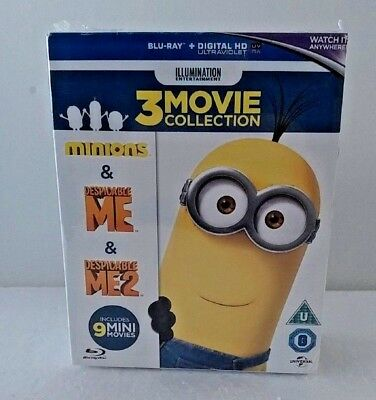 Minions Collection (Despicable Me 1-2 + Minions) Blu-Ray Box Set, Region Free